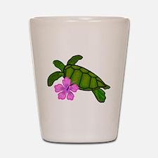 Colored Sea Turtle Hibiscus Shot Glass