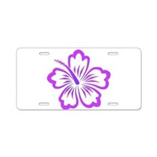 Purple Hibiscus Aluminum License Plate