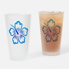 Blue Hibiscus Drinking Glass