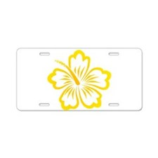 Orange and Yellow Hibiscus Aluminum License Plate