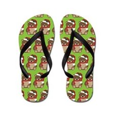 Christmas Teddy Bear Flip Flops