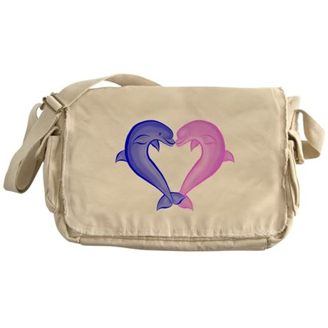 Colored Dolphin Heart Messenger Bag