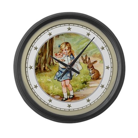 Alice and the Pig Baby Large Wall Clock