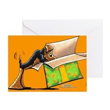 Airedale Birthday Surprise Orange Greeting Card