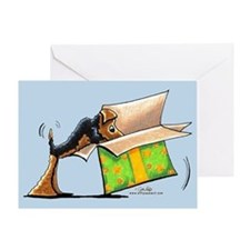 Airedale Birthday Surprise Blue Greeting Card