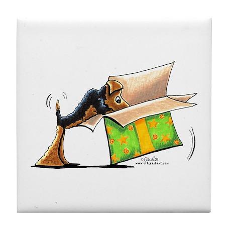 Surprise Me Airedale Tile Coaster