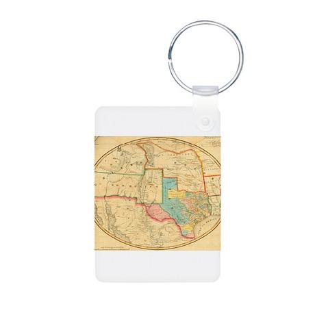 Texas Maps Aluminum Photo Keychain