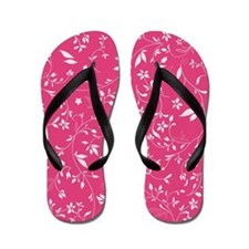 Pink Floral Spray Flowered Flip Flops