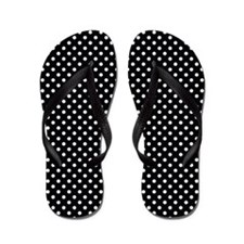 Polka Dot Black and White Pattern Flip Flops