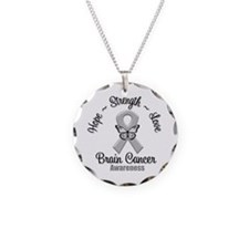 Strength Brain Cancer Necklace Circle Charm
