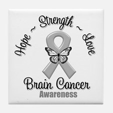 Strength Brain Cancer Tile Coaster