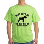 Schnauzer Dog design Green T-Shirt