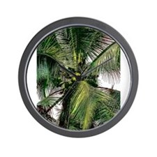 Tropical Coconut Palm Wall Clock