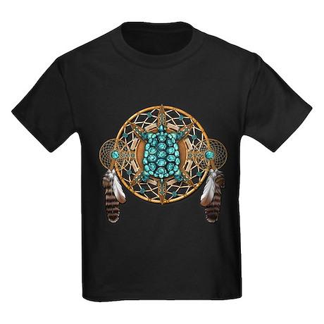 Turquoise Tortoise Dreamcatcher Kids Dark T-Shirt