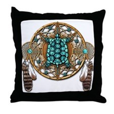 Turquoise Tortoise Dreamcatcher Throw Pillow