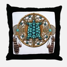 Turquoise Tortoise Dreamcatcher Throw Pillow