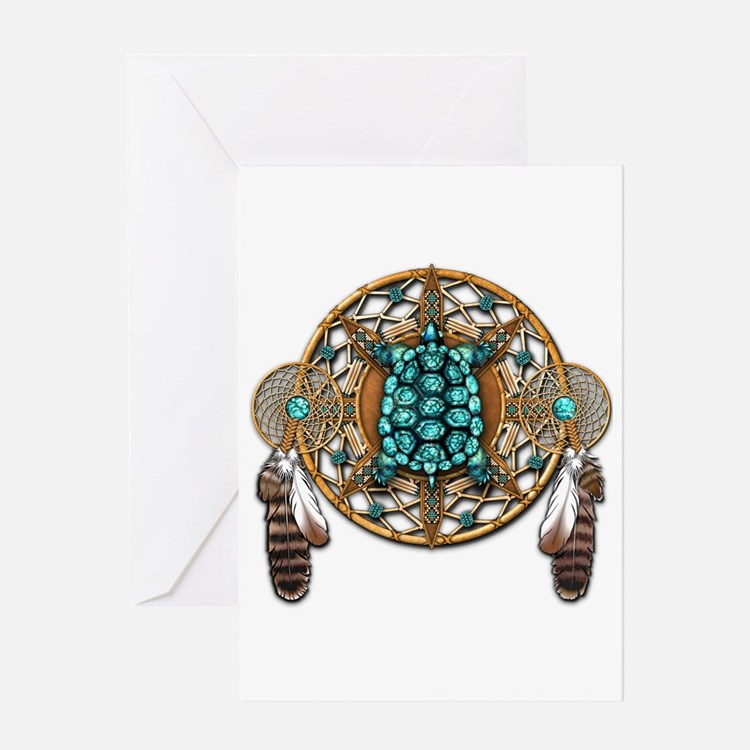 Turquoise Tortoise Dreamcatcher Greeting Card