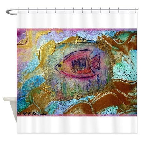 Tropical fish bright art shower curtain by mcfishpink for Tropical fish shower curtain
