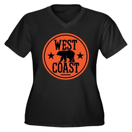 West Coast Women's Plus Size V-Neck Dark T-Shirt