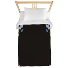 Floral Butterfly black Twin Duvet