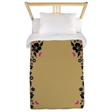 Floral Butterfly gold Twin Duvet