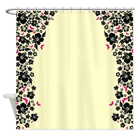 Floral Butterfly Cream Shower Curtain By Himmstudios