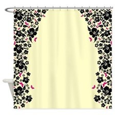 Floral Butterfly cream Shower Curtain