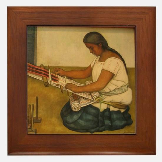 Diego Rivera Weaving Loom Art Framed Tile