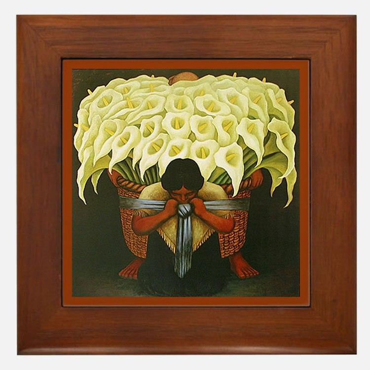 Diego Rivera Cala Lily Vendor Art Framed Tile