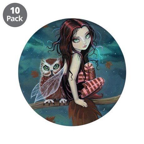 """Autumn Owl and Fairy 3.5"""" Button (10 pack)"""
