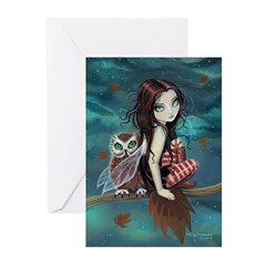 Autumn Owl and Fairy Greeting Cards (Pk of 20)