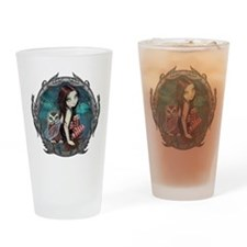 Autumn Owl and Fairy Drinking Glass