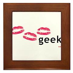 I Kiss Geeks Framed Tile