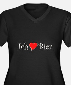 Ich liebe Bier Women's Plus Size V-Neck Dark T-Shi