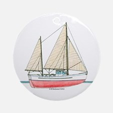 Ketch RIgged Motor Sailor Ornament (Round)