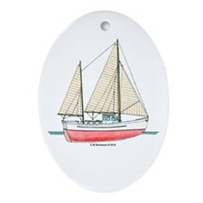 Ketch Rigged Motor Sailor Ornament (Oval)