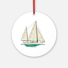 Clipper Bowed Cruising Ketch Ornament (Round)