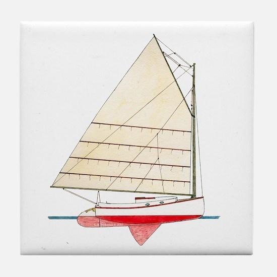 Cape Cod Catboat Tile Coaster