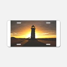 Sunset Lighthouse Aluminum License Plate