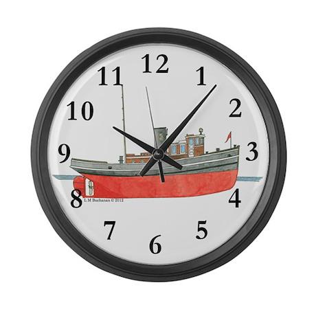 Diesel Tugboat Large Wall Clock