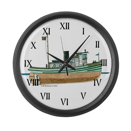 Diesel Tugboat of 1926 Large Wall Clock