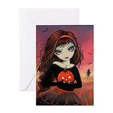 Autumn Fire Halloween Art Greeting Card