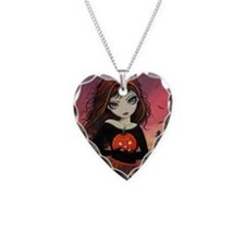 Autumn Fire Halloween Art Necklace Heart Charm