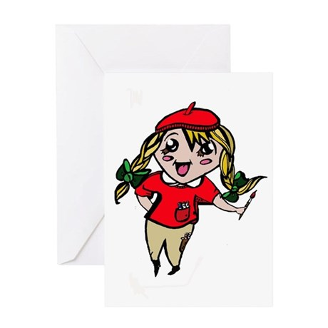 Little Anime Artist Greeting Card