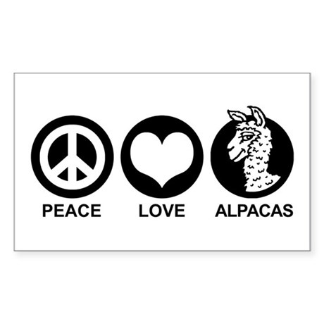 Peace Love Alpacas Sticker (Rectangle)