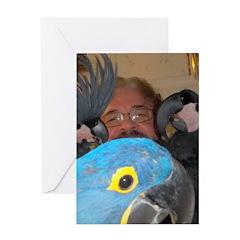 Palm Cockatoos and Hyacinth M Greeting Card