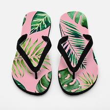 Modern vintage Tropical Palm Leaves Flip Flops
