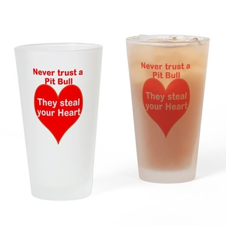 Pit Bulls Drinking Glass