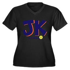 Just Kidding Women's Plus Size V-Neck Dark T-Shirt