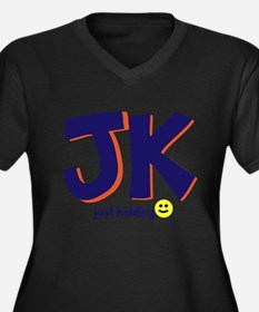 Just Kidding Women's Plus Size V-Neck Dark T-Shirt